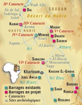 Soudan : des projets de barrages sur le Nil menacent des sitesarchéologiques