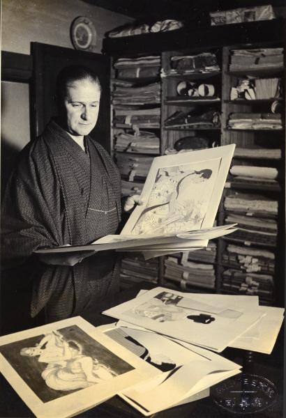 Portrait de Paul Jacoulet dans son atelier