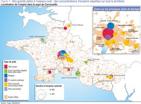 Cornouailles (Bretagne) : l'emploi salarié concentré en 19pôles