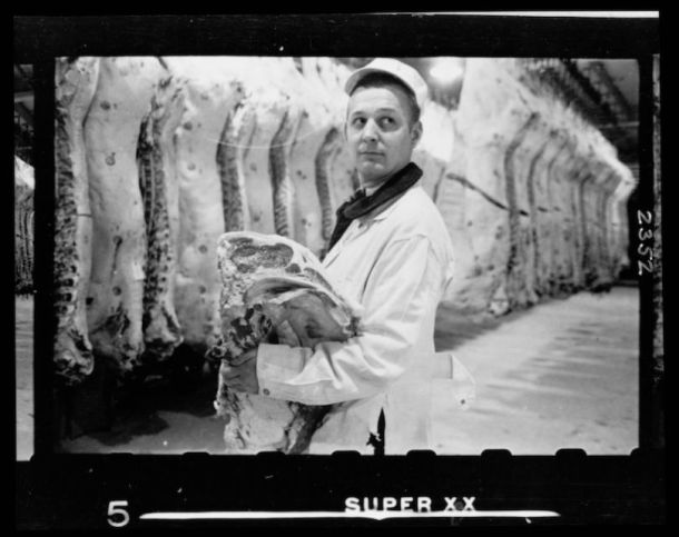 Butcher holding slab of beef in a meat locker
