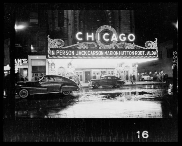 People arriving at a Chicago theater for show starring, in person, Jack Carson, Marion Hutton, and Robert Alda