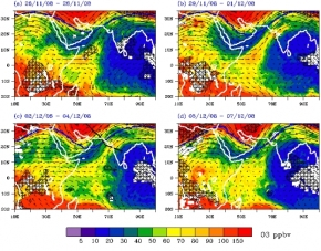 Entre l'Afrique et l'Inde,  coule une «rivière d'ozone»… dans la hautetroposphère