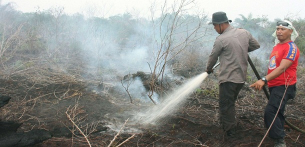 BENGKALIS, Indonesia - Firefighters spray water to put out a fire that has continued smoldering under peatland at an oil palm plantation in Bengkalis Regency, Riau, in Indonesia on June 26, 2013. Fires on Sumatra have caused haze not only in Indonesia but also in Singapore and Malaysia. (Kyodo) Photo via Newscom/kyodowc095142/0629005.jpg/1306291054