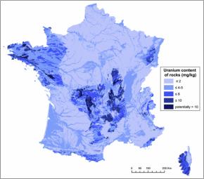 La radioactivité naturelle en Francecartographiée